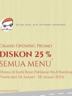 Opening Promo di Sushi Boon Jl. Pahlawan, Bandung